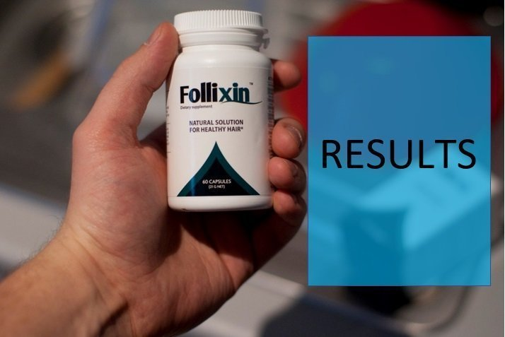 Hand holding Follixin bottle next the the word Results