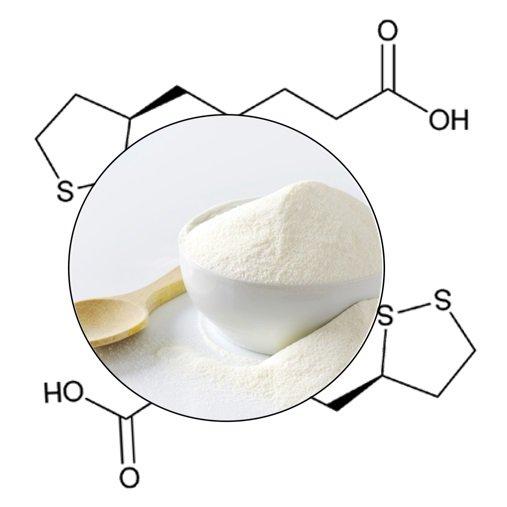 Alpha Lipoic Powder and Scientific Formula background