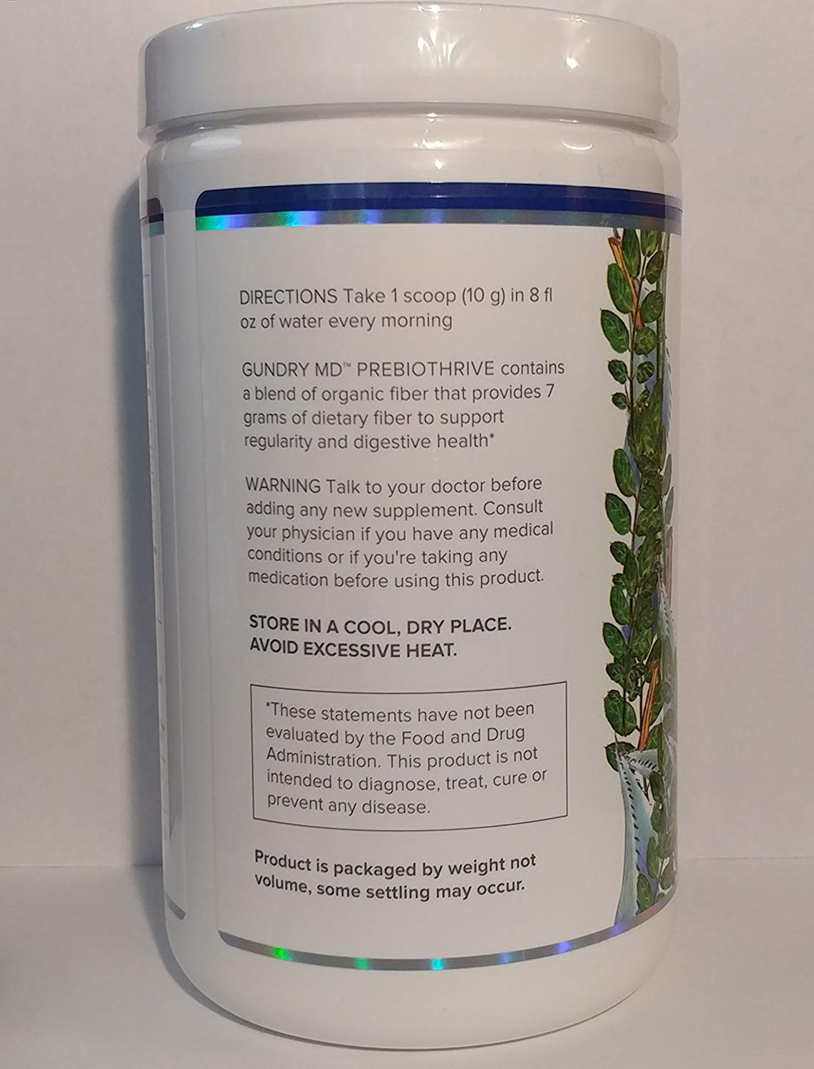 Backside of Bottle of Gundry MD PrebioThrive