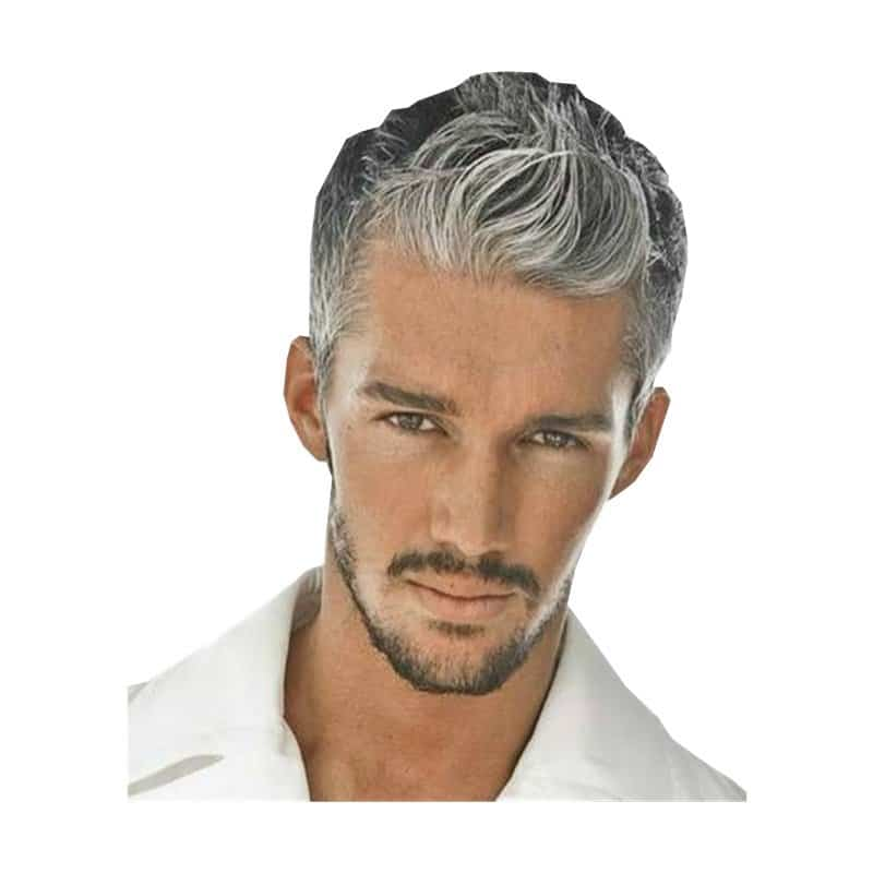 Young man with grey hair