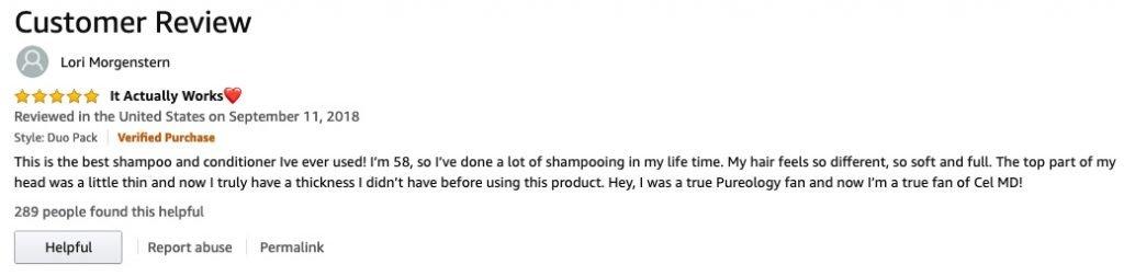 Lori's post in Customer Reviews of Cel MD